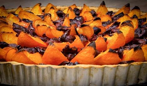 Apricot, cherry, Pistachio Tart Done