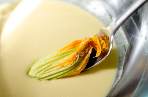 Zucchini Blossom dipping in batter