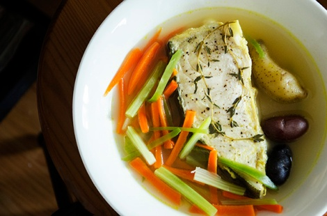 Halibut Poached with Vegetables