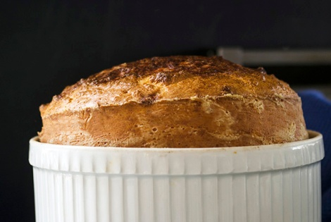 Souffle with Spring Onions and Pancetta