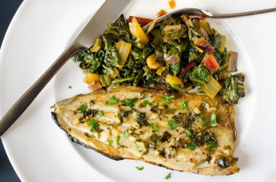 Trout with Rainbow Chard