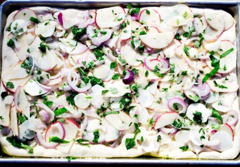 Focaccia Sunchokes, Potatoes, Onion